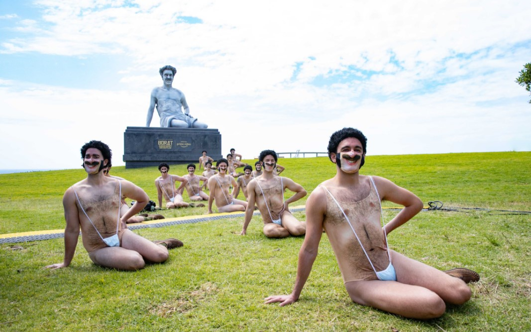 Borat takes over Bondi to celebrate the launch of 'Borat Subsequent Moviefilm' on Amazon Prime Video